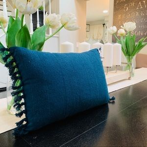 Hearth and hand blue fringe pillow NEW